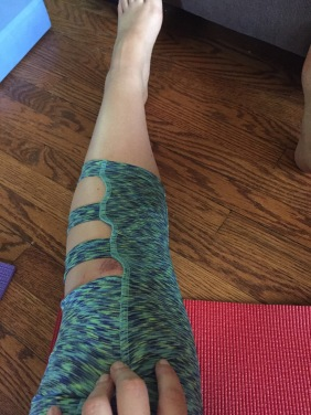 In retrospect, these yoga pants may not have been the best choice for my scraped knee.