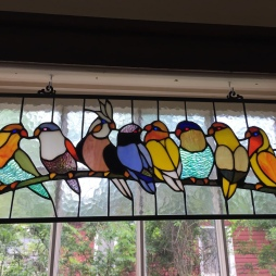 The stained glass birdies of Snow White, gifted by one of my best friends!