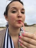 Guincho Beach. Kiwi juice, nectar of the Gods, from a local vendor on the beach.