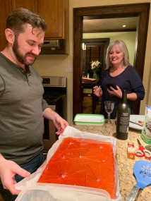 Making potato candy and glass candy!